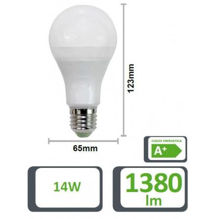 Lampada led goccia 65gf e27 14w 6500k 220vac lm1380 for Lampade e27 a led