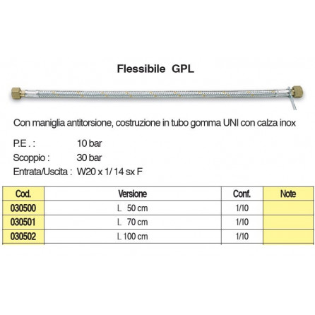 FLESSIBILE PER CENTRALINA GAS CM100