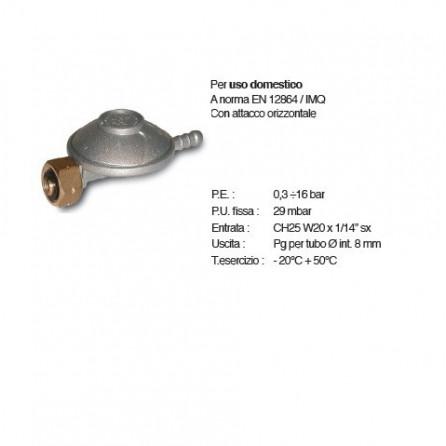 Regolatore GPL / MISCELA bassa pressione singolo stadio portata 1 kg/h